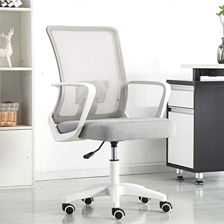 Modern Office Chair Computer Desk Chair Comfort White Swivel Mesh Home Office Task Chair With Arms And Adjustable Height Color Gray Amazon Co Uk Kitchen Home