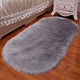 Luxury Premium Faux Fur Sheepskin Fluffy Shaggy Area Rug Chair Window Cover Sofa Bedroom Floor Pad Rug Home Decorative Carpet 2.5ft x 5ft,Black