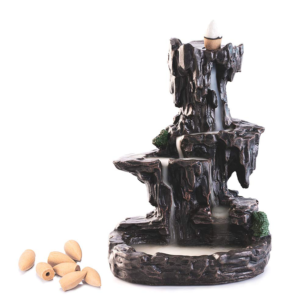 ZINGYOU Mountain Stream Backflow Incense Burner, Handcrafted Resin Incense Cone Burner, Aromatherapy Furnace for Home Decor
