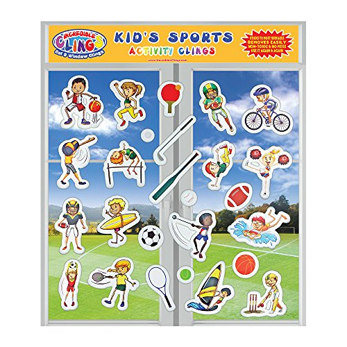 Baseball Clings Window (Kids Sports Incredible Gel and Window Clings for Kids and Toddlers - Football, Soccer, Basketball, Tennis, Sailing - Sticks to Most Surfaces, Removable and Reusable - Great for the House or Travel)