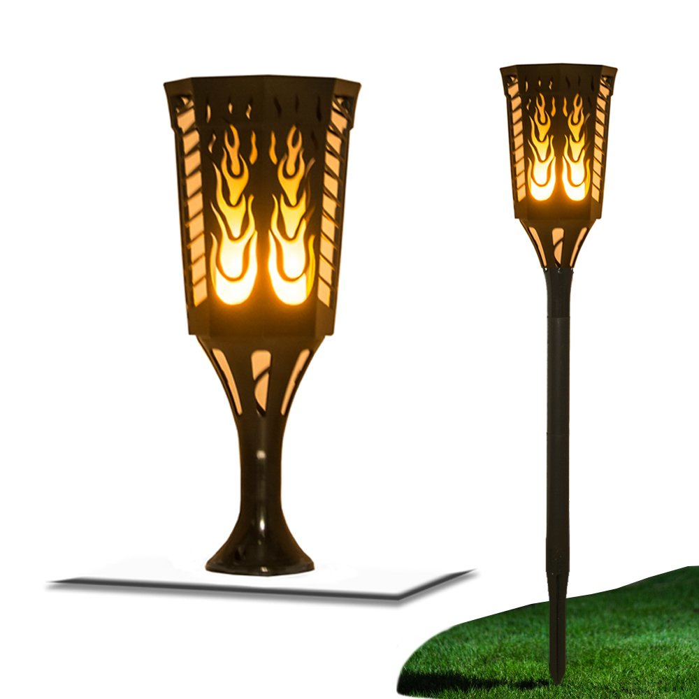 LED Solar Torch Lights with Waterproof function, Dusk to Dawn , Flickering Flames Torch Lights,Wireless Outdoor Landscape Decoration Lighting, Auto On/Off Torch Lights for Garden/Patio/Yard/Deck (2P) by QICHUANG (Image #2)