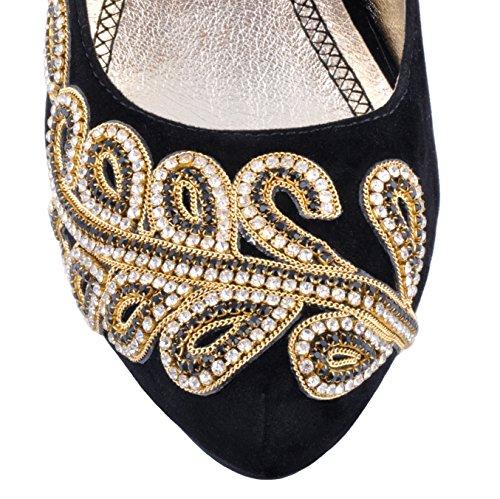 Terciopelo Diamantes de Boda de Oro Zapatos la Plataforma Talones Gold Negro Puntados Zapatos pdgWqg0Z