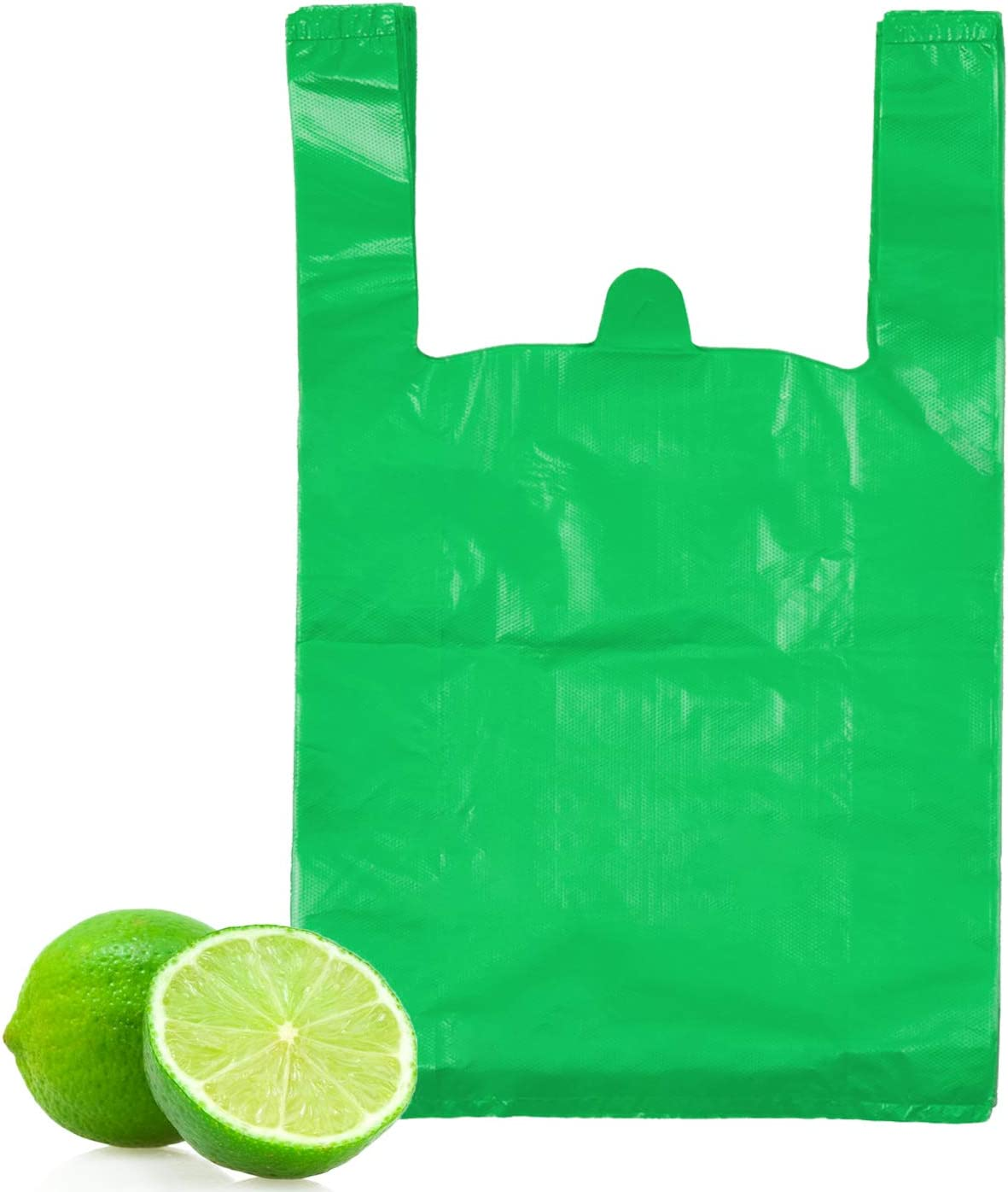 T-Shirt Bags, LazyMe Bolsas De Plastico Para Negocio, Plastic Grocery Bags with Handles Shopping Bags in Bulk Restaurant Bags, Standard Supermarket Size,12 x 20 inches (50 Pcs, Green)