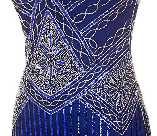 Bordado Azul Vestido Gatsby con COUPLE con FAIRY Cuentas Lentejuelas 1920S Hem de Bordado Marino D20S001 tfwaOqS