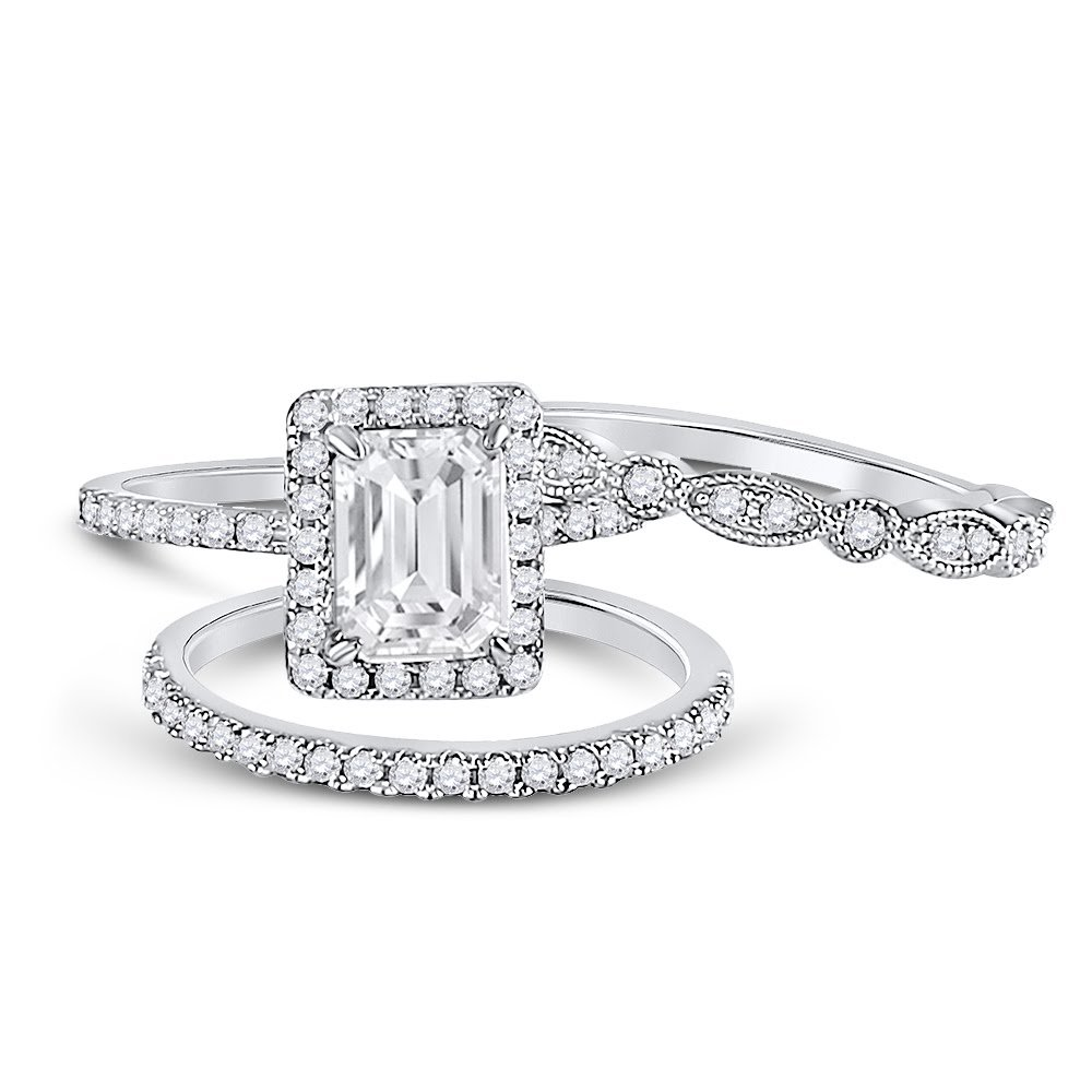 Allyanna Gifts 925 Sterling Silver 2 ct CZ Emerald-cut Wedding Engagement Ring Set Size 5-10 (8)