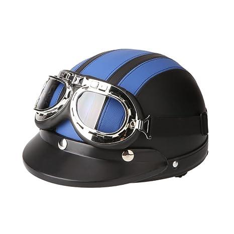 KKmoon Casco Abierto Protección para Motocicleta Scooter Bicicleta 54-60cm Ajustable con Visera UV Gafas