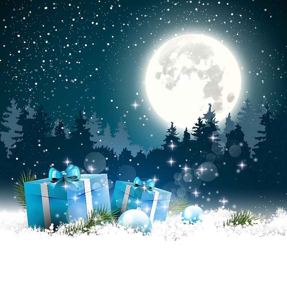 GladsBuy 明るい月 8フィート x 8フィート デジタル印刷 写真撮影 背景幕 クリスマステーマ 背景 YHA-481   B073G3FSQK