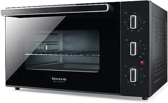 Taurus 971345000 - Horno eléctrico Horizon 45, 1500 W, 45 L, 5 modos de cocción, hasta 230 grados, Toque frío, All-Glass, 565x325x445 mm: Amazon.es: Hogar
