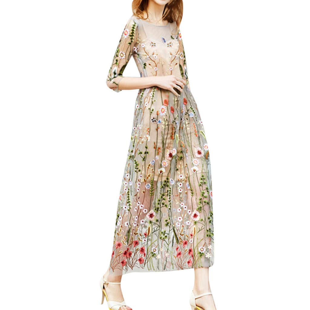 Onegirl Women's Fashion Floral Embroidered Dresses Mesh Half Sleeves Sheer Two-Piece Evening Party Dress Beige
