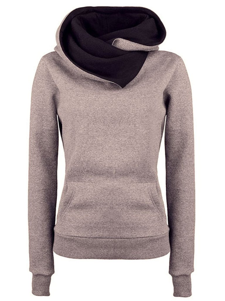 DOKER Women Personality Spring Autumn Lapel Hoodie Pullover Long Sleeve Sweater DC1210003