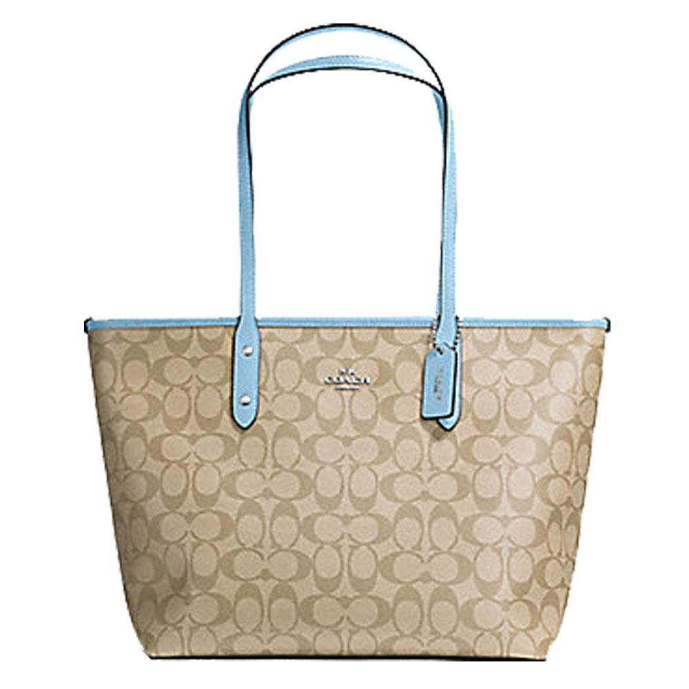 Coach City Zip Tote In Signature Canvas Lt Khaki/Cornflower