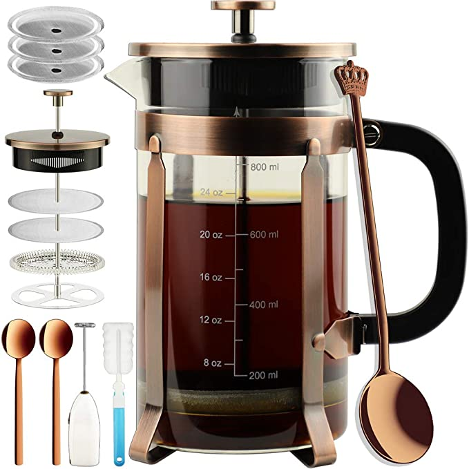 ADAMITA French Press Coffee Maker 8 cups 34 oz French Press 304 Stainless Steel Coffee Press with 4 Filter Screens System, Precise Scale Heat Resistant Borosilicate Glass BPA Free Complete Bundle best french presses
