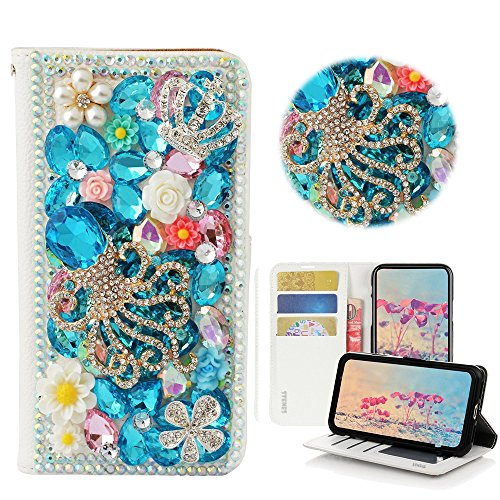 STENES Moto E5 Play Case - Stylish - 3D Handmade Bling Crystal Gemstone Octopus Crown Magnetic Wallet Credit Card Slots Fold Stand Leather Cover for Moto E5 Play/Moto E5 Cruise - Light Blue
