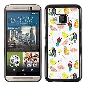 Be Good Phone Accessory // Dura Cáscara cubierta Protectora Caso Carcasa Funda de Protección para HTC One M9 // Watermelon Flamingo Parrot Pattern White