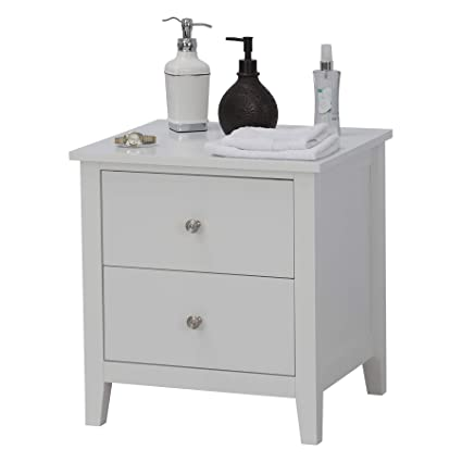 Fineboard FB-NS01-W Modern Night Stand with 2 Drawers Bedroom Nightstand,  White