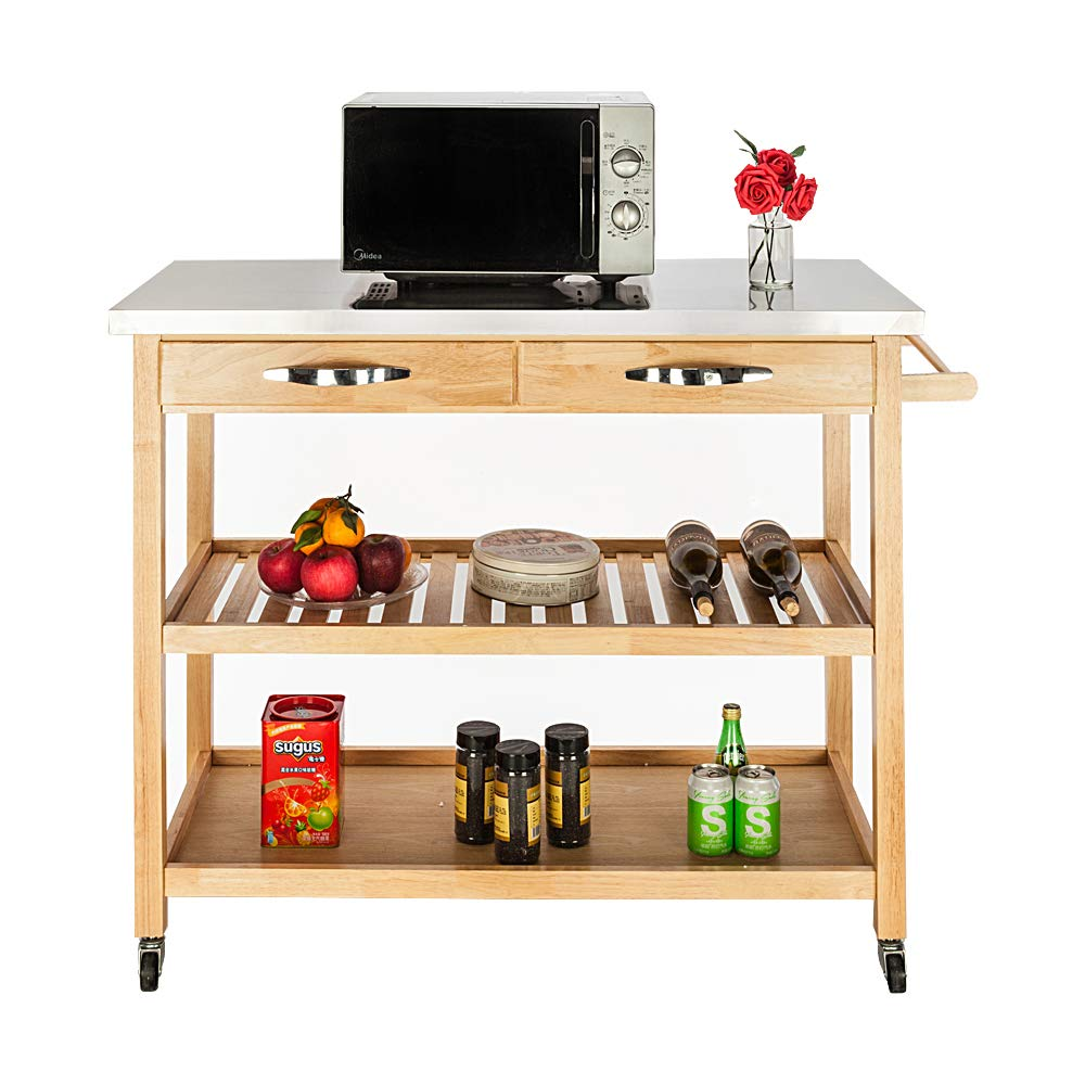 SSLine Kitchen Island Cart on Wheels Mobile Kitchen Cart Cutting Table w/Stainless Steel Countertop Rolling 3 Tier Wood Utility Bar Storage Rack Microwave Cart with 2 Drawers and Towel Rack