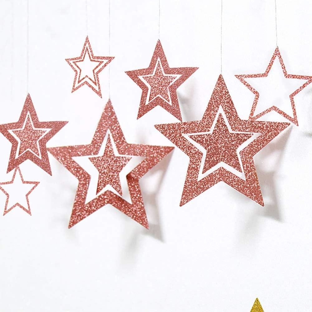 Queta 3x2m Sterne Girlande Wundersch/öne Ros/égold Sterne Hohle Geometrie Girlande Bunting Banner Hangedekoration f/ür Fenster,Wand,Kinderzimmer,Party,Geburtstag,Hochzeit,Weihnachten