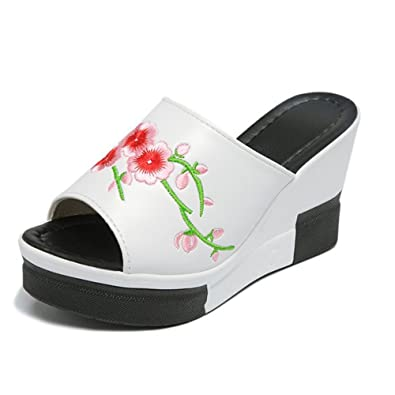 6e1b166e22a Image Unavailable. Image not available for. Color  Womens Wedge Flip Flops  Sandals Fashion Comfortable High Heel Beach Thong Summer Slipper Shoes(White