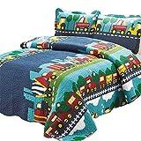Abreeze Kids Bedding Set Boys Train Quilt Bedspread Set, Plaid Train Patchwork Pattern, Queen Size