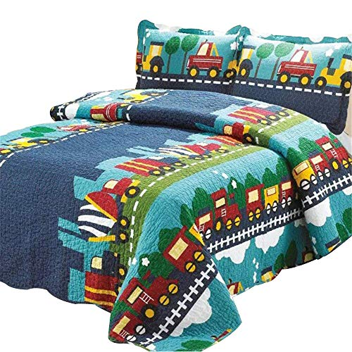 Abreeze Kids Bedding Set Boys Train Quilt Bedspread Set, Plaid Train Patchwork Pattern, Queen Size - Train Quilt Pattern