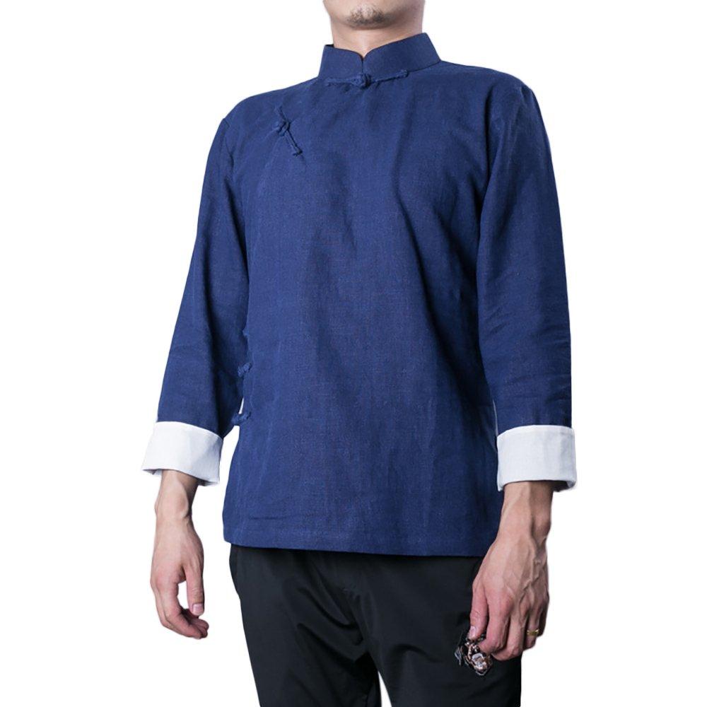 KIKIGOAL Chinese Traditional Uniform Top KungFu Shirt for Men (XXXL, deep blue)