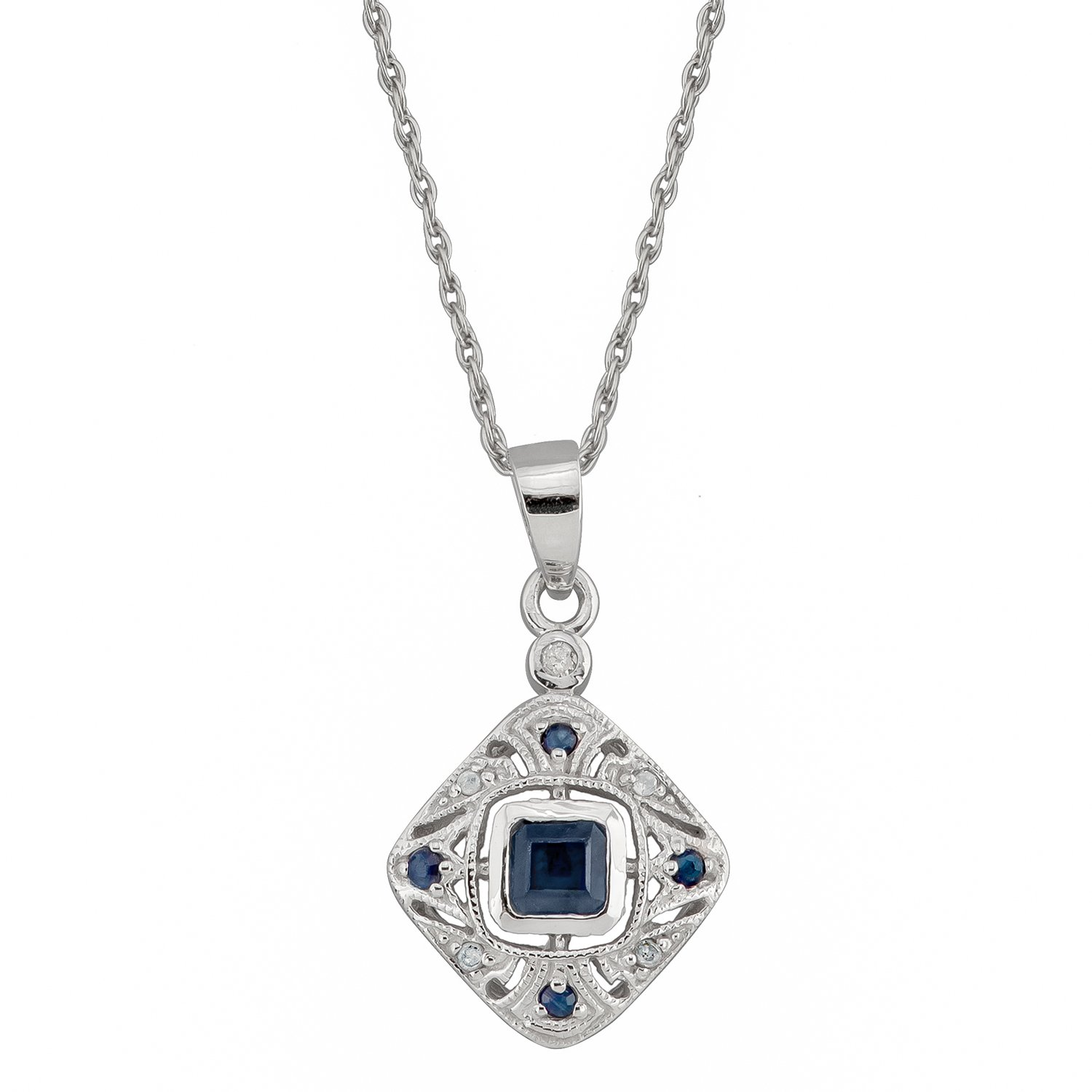 10k White Gold Vintage Style Sapphire and Diamond Pendant Necklace by Instagems