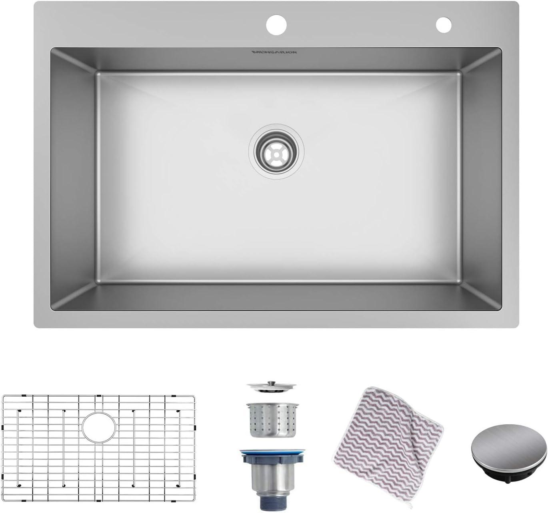 Mensarjor 33 X 22 Inch Drop In Or Undermount 16 Gauge R10 Sus304 Stainless Steel Topmount Kitchen Sink Single Bowl 33 X 22 X 10 Amazon Com