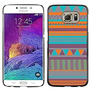 LECELL--Funda protectora / Cubierta / Piel For Samsung Galaxy S6 SM-G920 -- Art Native American Quilted Teal --