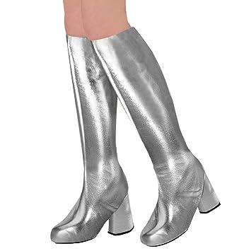 3e0be75bb Amakando Polainas Zapatos de Gabardina Estilo Disco / Plateado / Botas  largas Estilo Falsos Zapatos de Charol / Momento Cumbre para carnavales y  Festivales: ...