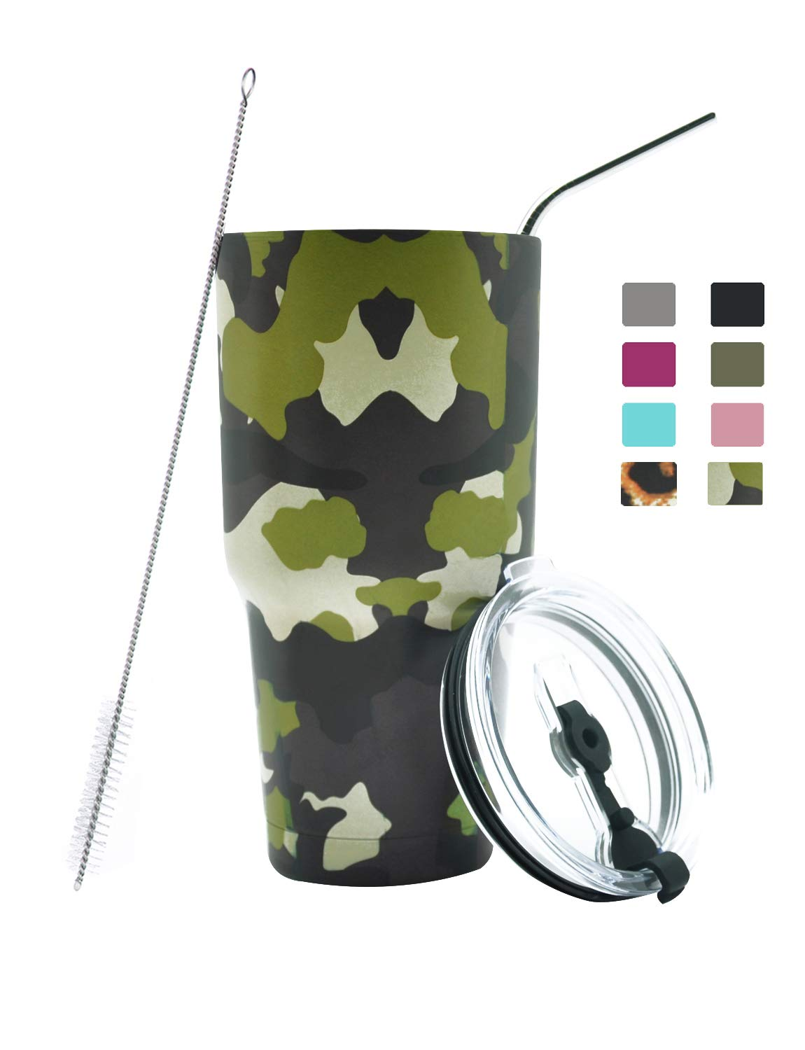 DYNAMIC SE 30oz Tumbler Double Wall Stainless Steel Vacuum Insulated Travel Mug with Splash-Proof Lid Metal Straw and Brush (Camo)