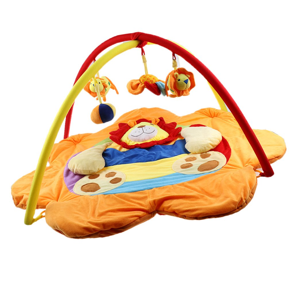 Dovewill Baby Musical Sensory Play Mat Animals Soft Cotton Play Gym - Lion 1, as described