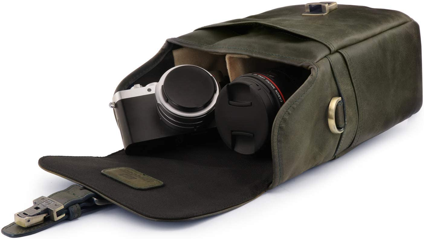 MegaGear Torres Mini Genuine Leather Camera Messenger Bag for Mirrorless Instant and DSLR Cameras