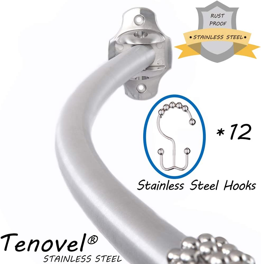 """Stainless Steel 50/""""-72/"""" Adjustable Curved Shower Rod TENOVEL 2-Piece Bathroom Shower Sets Double Glide Shower Curtain Hooks//Rings-Brushed Nickel"""
