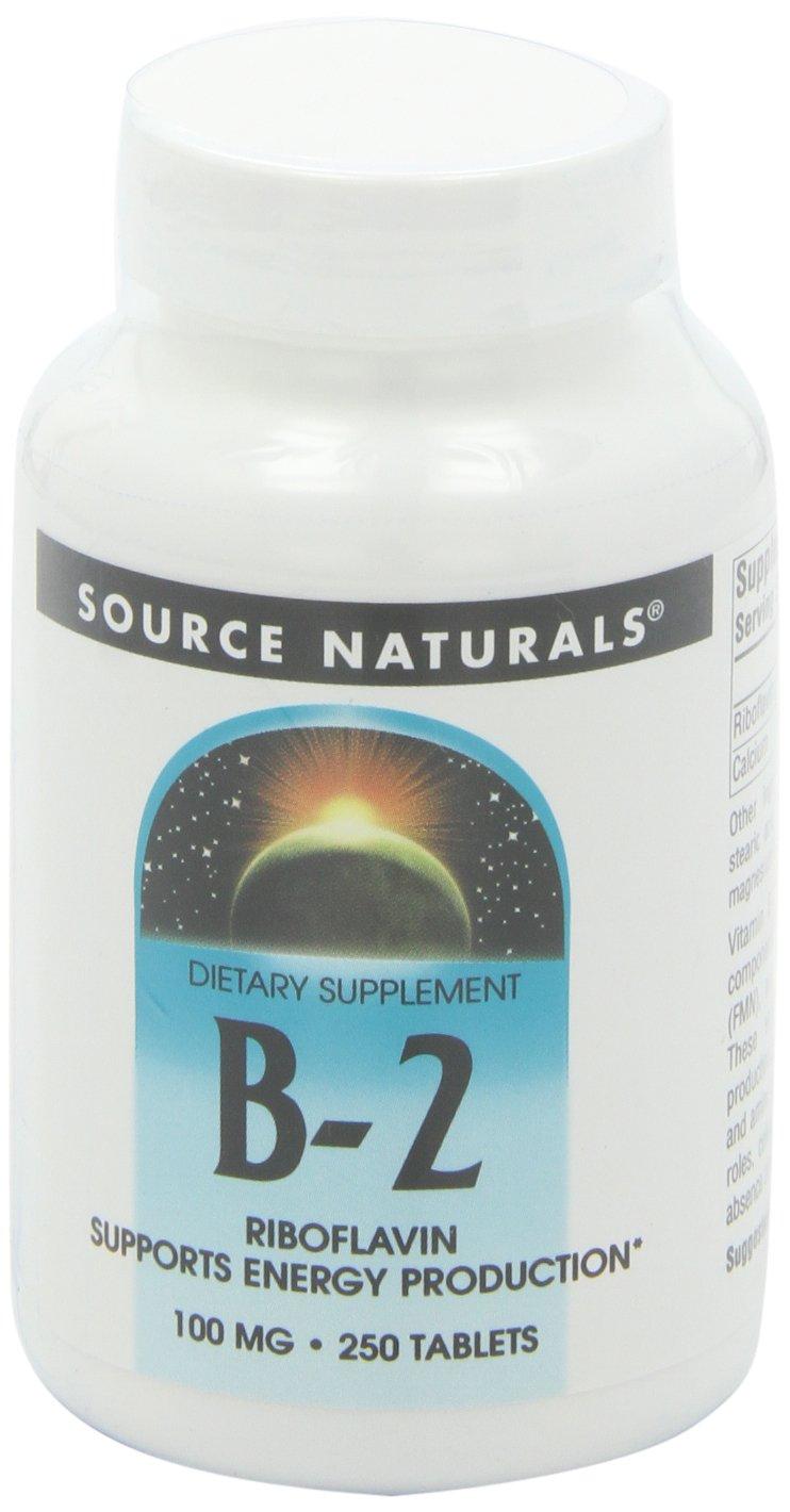 Source Naturals Vitamin B-2 Riboflavin 100mg, 250 Tablets (Pack of 2)