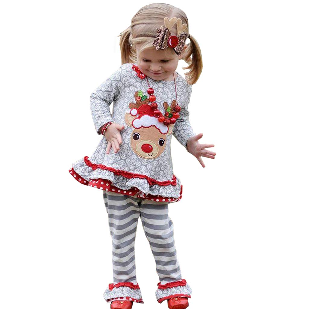 Vine Kids Christmas Outfit Set Baby Girls Pullover Long Sleeve T-Shirt + Pants Vine Trading Co. Ltd K181019TZ002V