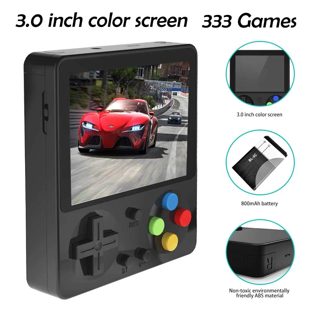 CHAONATECH Handheld Game Console, Portable Video Game 3 Inch HD Screen 333 Classic Games,Retro Game Console Can Play on TV, Good Gifts for Kids to Adult (Black) by CHAONATECH (Image #2)