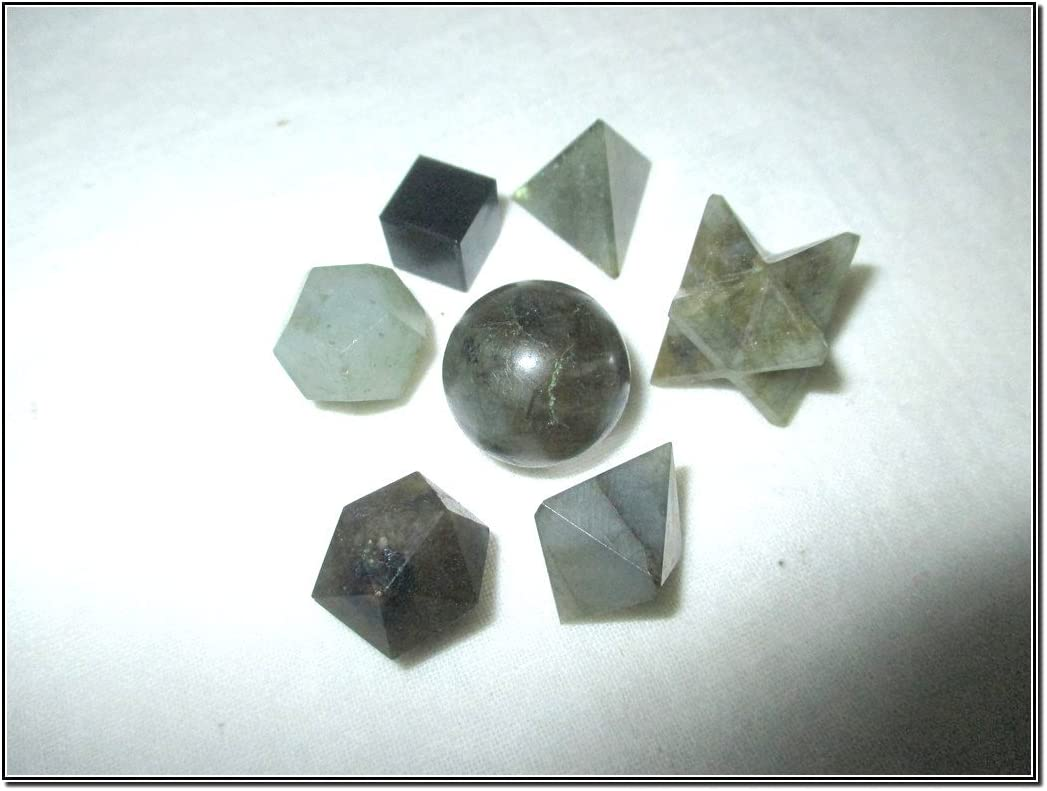 Beautiful A++ Labradorite 7 Stones Sacred Geometry Sets Gemstone Platonic Solid Top Grade Quality Merkaba Star w/Velvet Pouch Attractive Cleansing