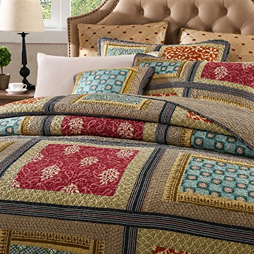 Dada Bedding Collection Reversible Bohemian Real Patchwork Gallery of Roses Cotton Quilt Bedspread Set, Multi-Colored, Cal King, 3-Pieces by DaDa Bedding Collection (Image #1)
