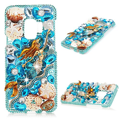Galaxy S9 Case, Mavis's Diary Full Edge Protective Plastic Case Luxury 3D Handmade Crystal Clear Bling Glitter Diamonds Shiny Rhinestone Hard PC Cover for Samsung Galaxy S9 - Mermaid & Shells ()