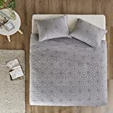 JLA Home INC Urban Habitat Caden Full/Queen Quilt Bedding Set - Grey, Geometric – 3 Piece Teen Girl Boy Bedding Quilt Coverlets – 100% Cotton Bed Quilts Quilted Coverlet