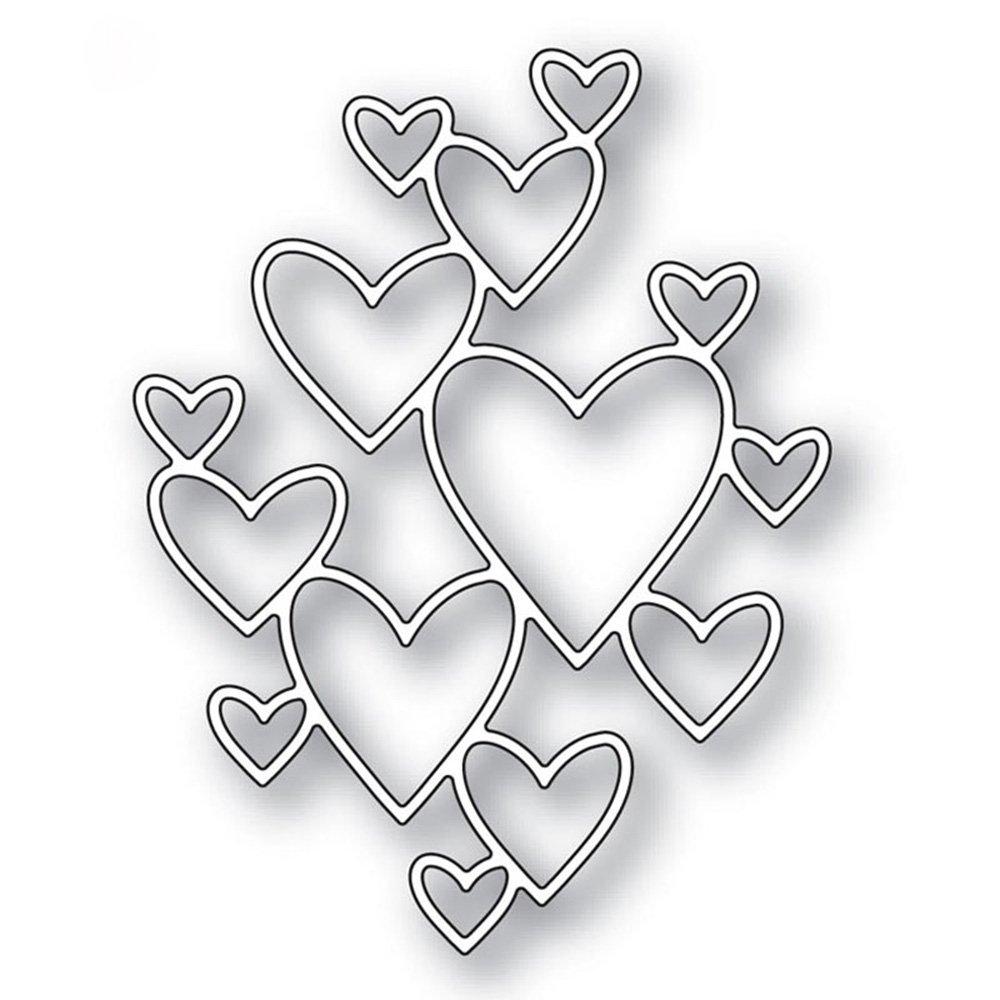 3Pcs Metal Heart Love Cutting Dies Stencils Metal Embossing Mould Template for Handmade DIY Scrapbook Album Craft Paper Card Making (Silver) FOVIUPET