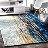 Cheap Traditional Vintage Abstract Waterfall Blue Area Rugs, 8 Feet by 10 Feet (8′ x 10′)