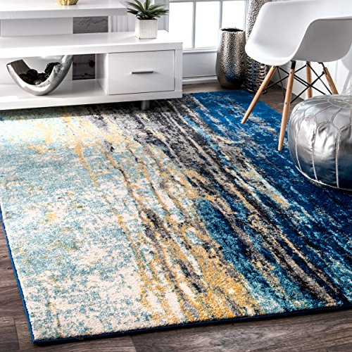 Traditional Vintage Abstract Waterfall Blue Area Rugs, 5 Feet by 7 Feet 5 Inches (5' x 7' 5