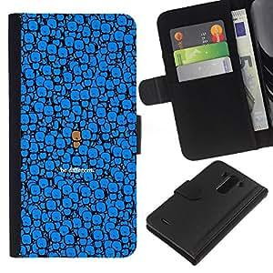 Planetar® Modelo colorido cuero carpeta tirón caso cubierta piel Holster Funda protección Para LG G3 ( Azul Sea diferente Dibujo lindo del personaje )