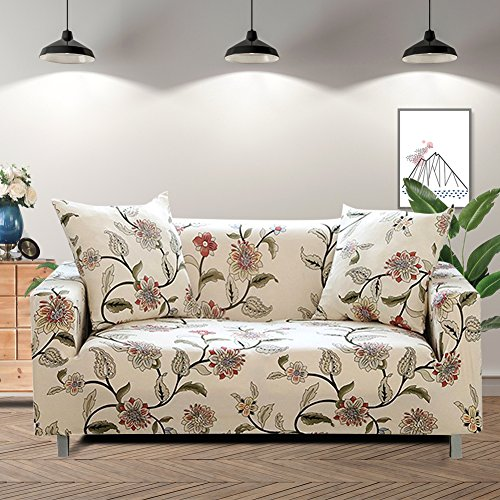 (Lamberia Printed Sofa Cover Stretch Couch Cover Sofa Slipcovers for 3 Cushion Couch with One Pillow Case (3 Seater, New Blooming Flower))