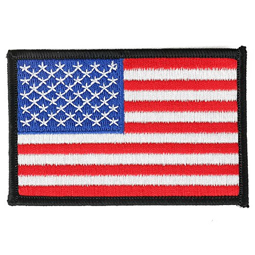 Mens Black Border (USA American Flag Embroidered Iron On Patch One Size (One Size, WHITE/BLACK BORDER))