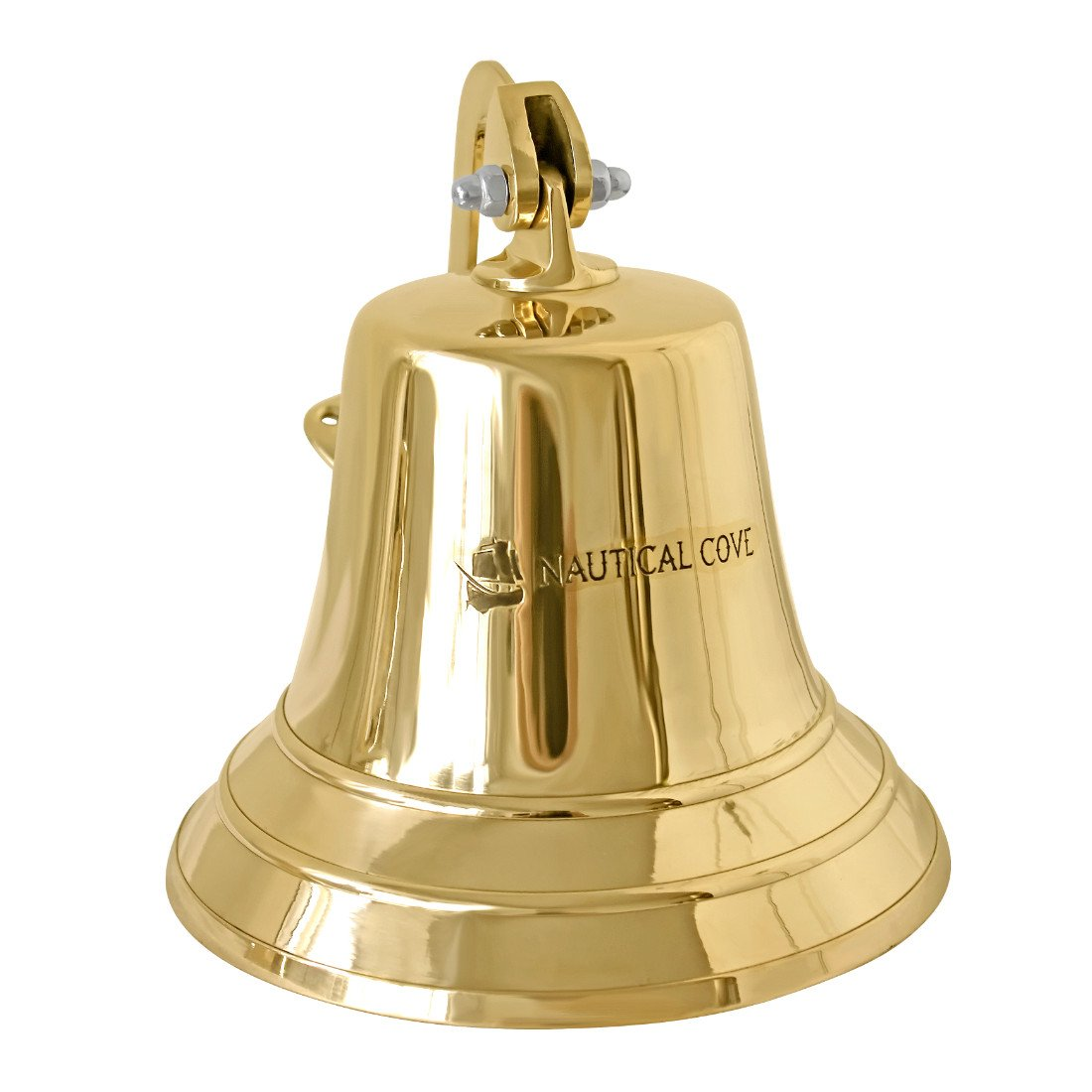 Nautical Cove Solid Brass Ships Bell 8'' Tall and Wall Mountable - Clear Ring for Indoor and Outdoor Use
