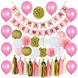 Happy Birthday Decorations Supplies, 39PCS Birthday Wedding Party Theme Decorations Its A Girl BABY SHOWER Decorations Set