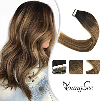 Youngsee 18 Balayage Black Tape In Hair Extensions Human Hair Natural Black To Medium Brown