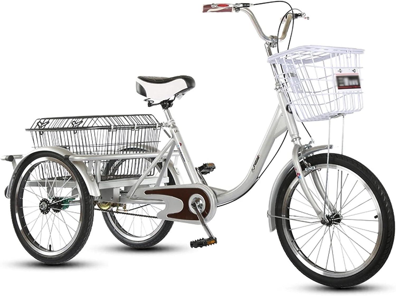 ZNND Bicicletas reclinadas Triciclo para Adultos 20 Pulgadas Ajustable Bicicleta 3 Ruedas con Sistema Doble Freno Y Cesta Compra Carga para Personas Mayores Mujer Hombres